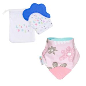 becalm baby blue mitten and flower teething bib combo