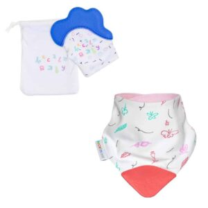 becalm baby blue mitten and butterly teething bib combo
