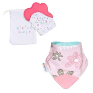 becalm baby pink mitten and flower teething bib combo