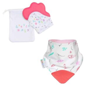 becalm baby pink mitten and butterfly teething bib combo