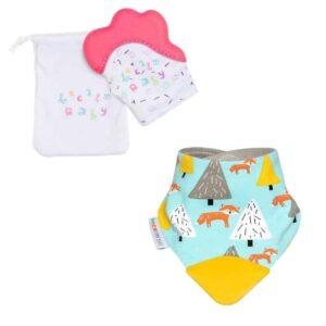 becalm baby pink mitten and fox teething bib combo