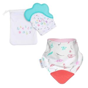 becalm baby teal mitten and butterfly teething bib combo