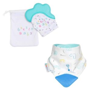 becalm baby teal mitten and car teething bib combo
