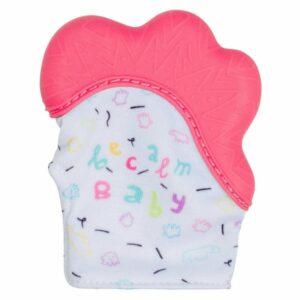 becalm baby teething mitten pink