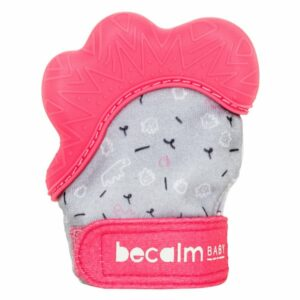 Becalm Baby Teething Mitt - Coral Pink