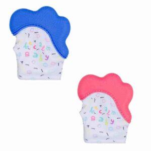 Becalm Baby Teething Mitten Blue Pink