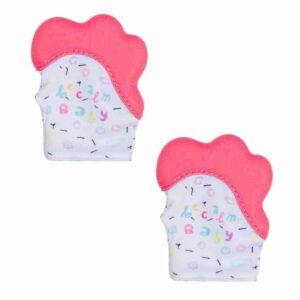 Becalm Baby Teething Mitten Pink Pink