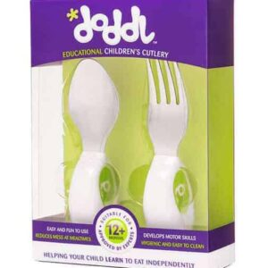 DODDL green spoon and fork 2 piece cutlery set