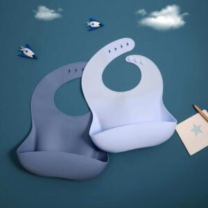 becalm baby blue and steel silicone bibs