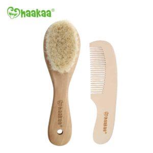 Haakaa Goat Wool Baby Brush and Comb Set