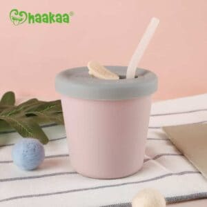 Haakaa Silicone Sippy Straw Cup Blush