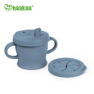Silicone Sip-N-Snack Cup bluestone