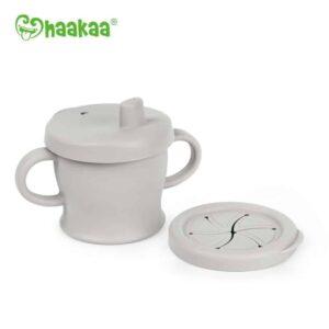 Silicone Sip-N-Snack Cup Grey