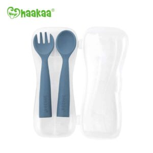 Haakaa Bendy Silicone Cutlery Set Bluestone
