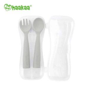 Haakaa Bendy Silicone Cutlery Set Suva Grey