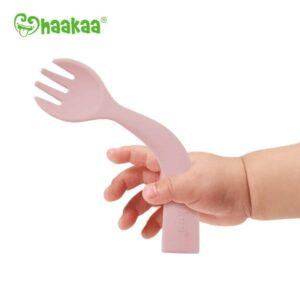 Haakaa Bendy Silicone Cutlery Set Blush